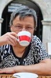 Senior woman at cafe Royalty Free Stock Photos