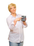 Senior woman with calculator Stock Image