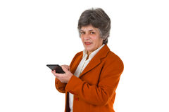 Senior woman with calculator Stock Image