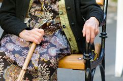Senior woman with a cane Stock Images
