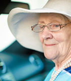 Senior woman in a car Stock Photography