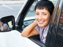 Senior woman in a car Stock Image