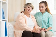 Senior woman and carer Royalty Free Stock Photo