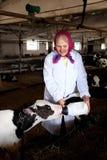 Senior woman caress calf Royalty Free Stock Photography