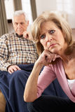 Senior Woman Caring For Sick Husband Royalty Free Stock Photography