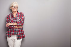 Senior woman in casual clothes. Royalty Free Stock Photos
