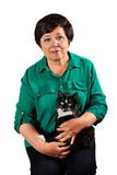 Senior woman with cat Stock Photo