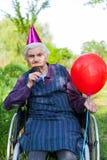 Senior woman celebrating birthday Stock Photos