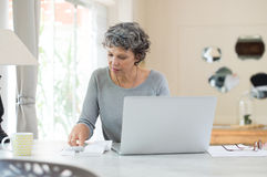 Senior woman checking bills Royalty Free Stock Image