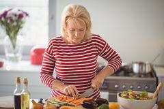Senior woman chopping vegetables. At home Stock Photos