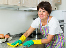 Senior woman cleaning Stock Images