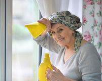 Senior woman cleaning window. With detergent and rag Royalty Free Stock Image