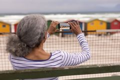 Senior woman clicking photo with mobile phone while sitting on promenade bench. Rear view of senior woman clicking photo with mobile phone while sitting on stock photo