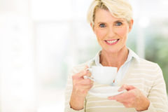 Senior woman coffee Royalty Free Stock Photos