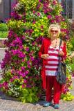 Senior woman colorful dress Stock Photography