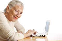 Senior woman computer Stock Images