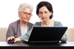 Senior woman computer training Royalty Free Stock Image