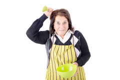Senior woman cooking Stock Images