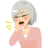 Senior Woman Coughing. Illustration of senior woman coughing with fist in front of mouth Stock Photos