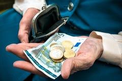 Senior woman counting money Royalty Free Stock Photo