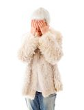 Senior woman covering her eyes with her hands Royalty Free Stock Photography