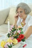 Senior woman crying Royalty Free Stock Image
