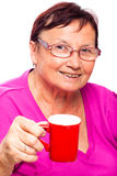 Senior woman with cup of coffee Royalty Free Stock Images