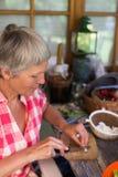 Senior woman cutting food Stock Image