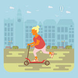 Senior woman cycling. Happy people concept. Senior woman cycling by the street. Flat style cartoon vector illustration with isolated characters on city Stock Image