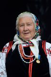 Senior woman dancing in traditional ukrainian costume,Kiev,Ukraine Royalty Free Stock Photos