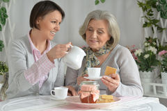 Senior woman with daughter  with tea. Senior women with daughter  with tea and food Royalty Free Stock Photo