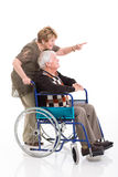 Senior woman disabled husband Royalty Free Stock Photo