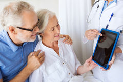 Senior woman and doctor with tablet pc at hospital Royalty Free Stock Photo