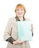 Senior woman with document folder Stock Photography