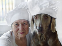 Senior woman with dog Royalty Free Stock Photography