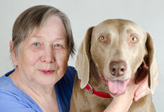 Senior woman and dog Stock Photos