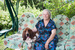 Senior woman with dog Stock Photos