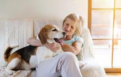 Senior woman and dog Royalty Free Stock Photography