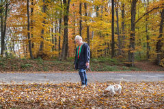Senior woman and dog Stock Image