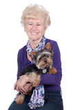 Senior woman  with dog Stock Images
