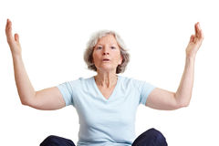 Senior woman doing breathing Royalty Free Stock Images