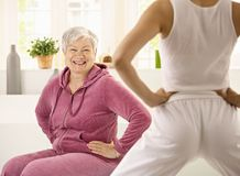 Senior woman doing exercises Stock Image