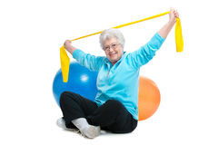 Senior woman doing exercises Royalty Free Stock Image