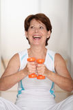 Senior woman doing fitness Stock Photo