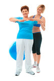 Senior woman doing fitness exercise Stock Photography