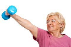 Senior woman doing fitness exercise. Portrait of healthy senior woman doing fitness exercise.Isolated on white Royalty Free Stock Images