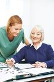 Senior woman doing memory training Royalty Free Stock Photos