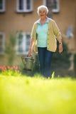 Senior woman doing some gardening in her garden Stock Image