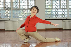 A senior woman doing  sport Stock Image