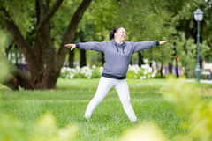 Senior woman doing sport in park Royalty Free Stock Photography